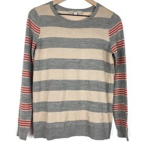 Ann Taylor Loft Sweater M Tan Grey Red Stripe Wool